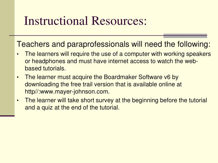 Instructional Resources: