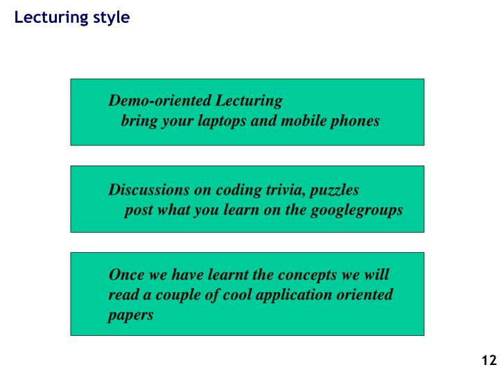 Lecturing style