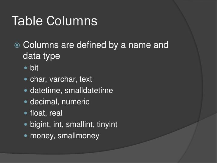 Table Columns