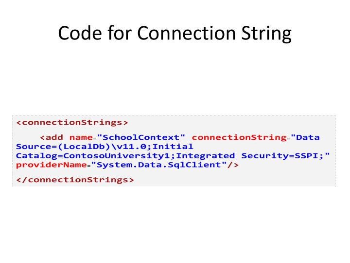 Code for Connection String