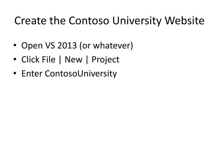 Create the Contoso University Website