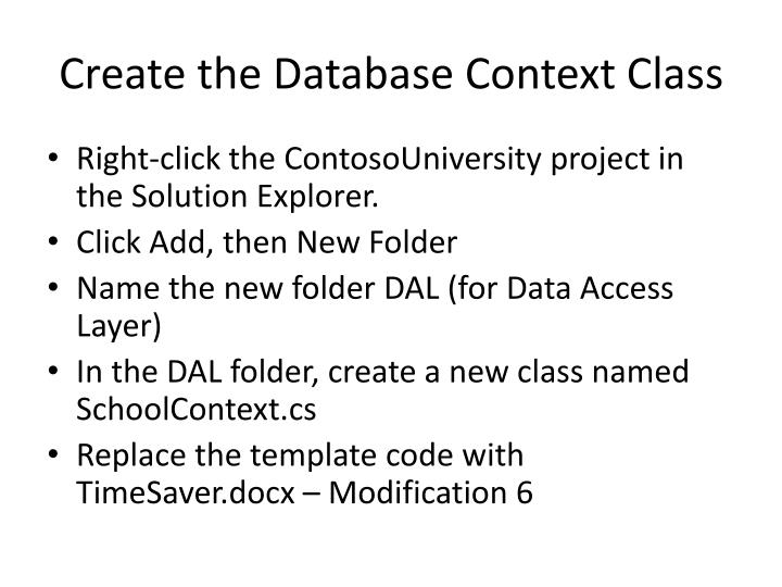 Create the Database Context Class