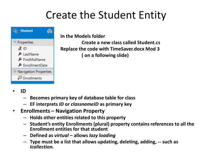 Create the Student Entity