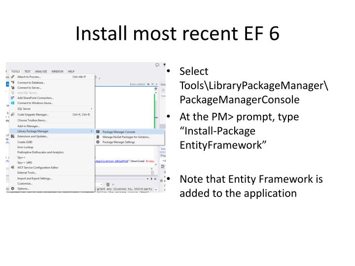 Install most recent EF 6