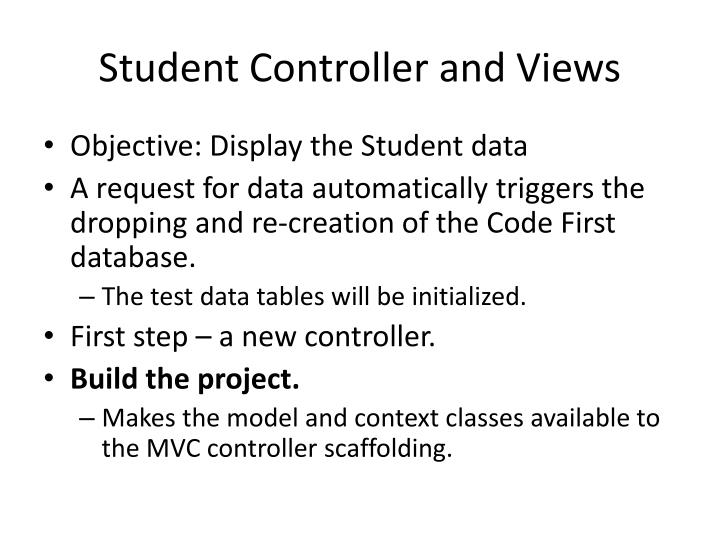Student Controller and Views