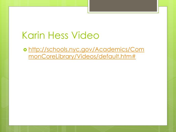 Karin Hess Video