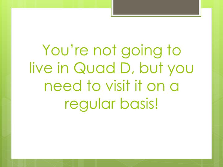 You're not going to live in Quad D, but you need to visit it on a regular basis!