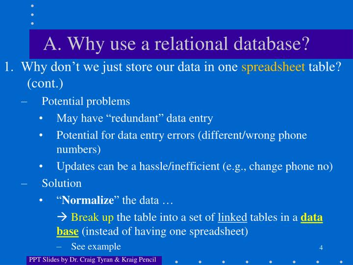 A. Why use a relational database?