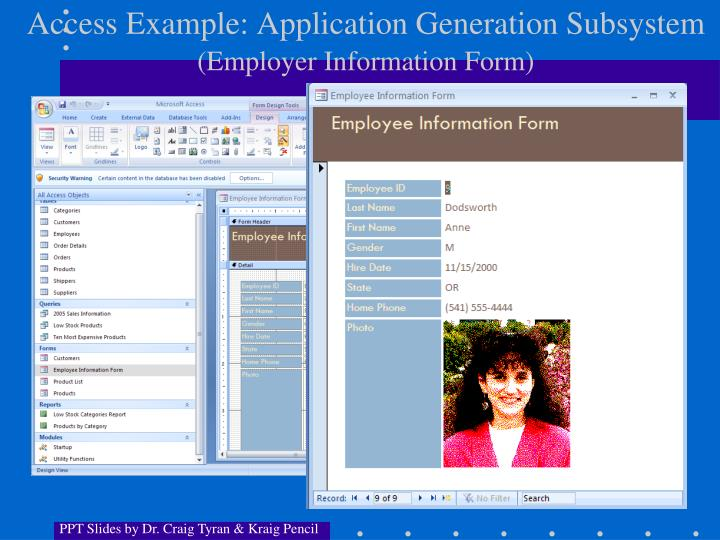 Access Example: Application Generation Subsystem