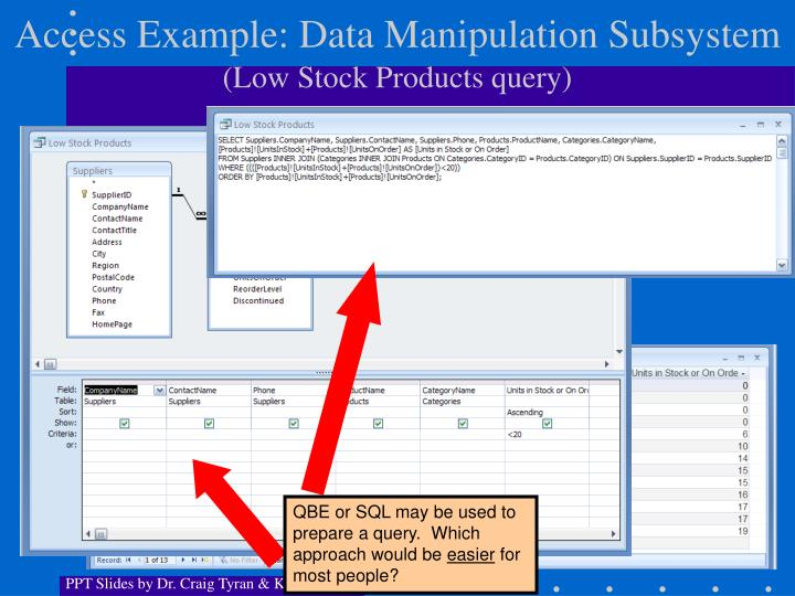 Access Example: Data Manipulation Subsystem