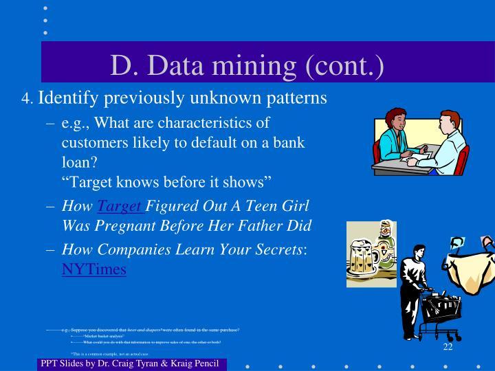 D. Data mining (cont.)