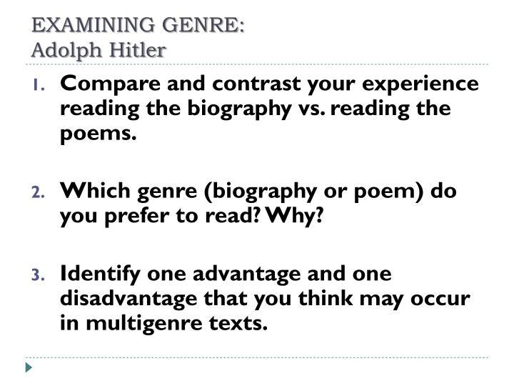 EXAMINING GENRE: