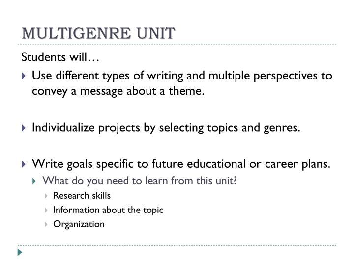 MULTIGENRE UNIT