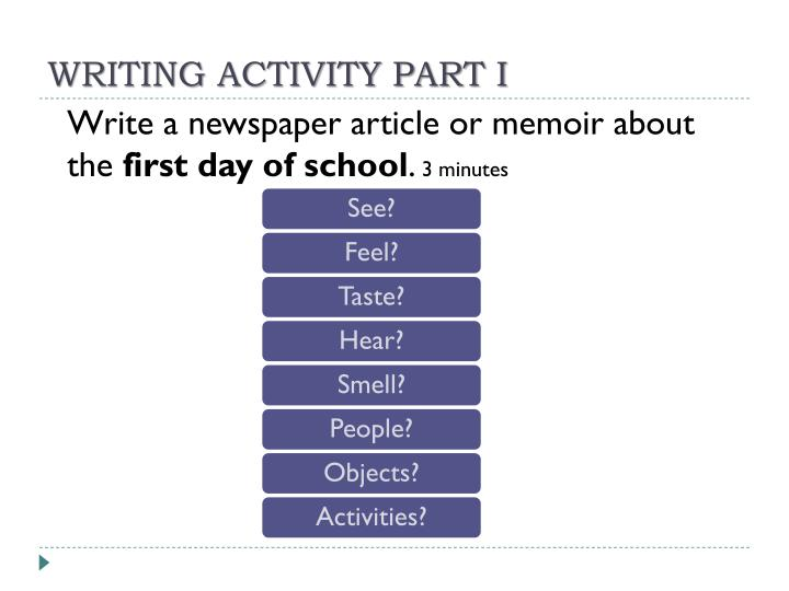WRITING ACTIVITY PART I