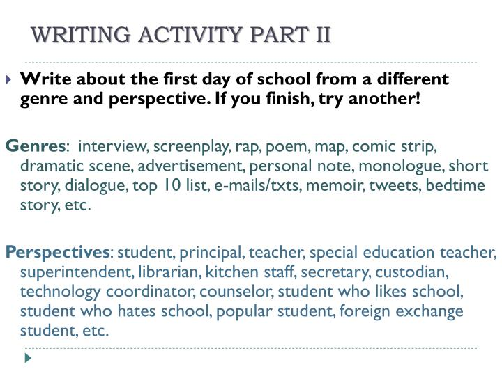 WRITING ACTIVITY PART II