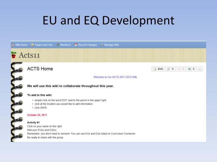 EU and EQ Development