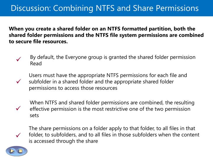 Discussion: Combining NTFS and Share Permissions