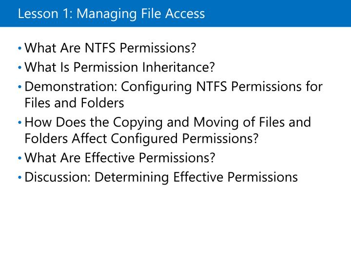 Lesson 1 managing file access
