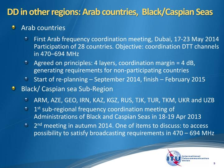 DD in other regions: Arab countries,  Black/Caspian Seas