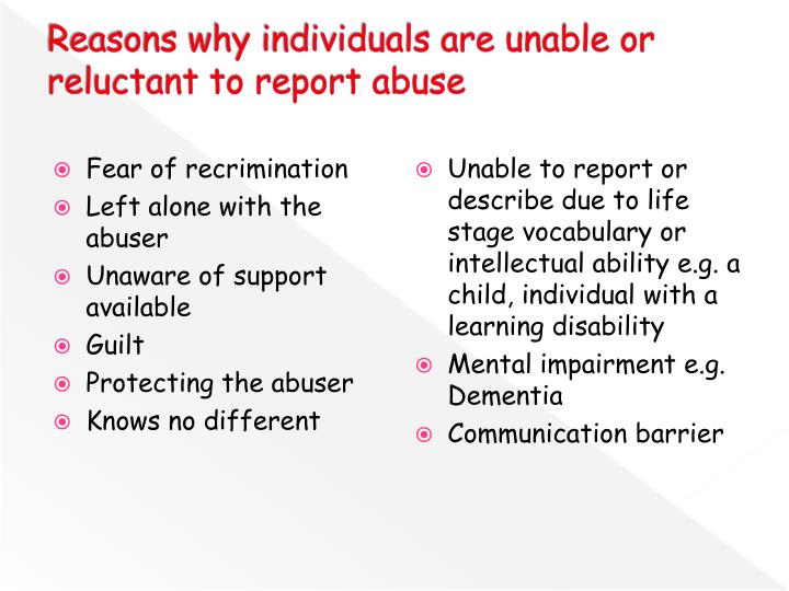 Reasons why individuals are unable or reluctant to report abuse