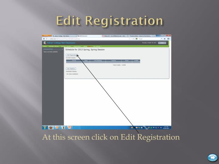 Edit Registration