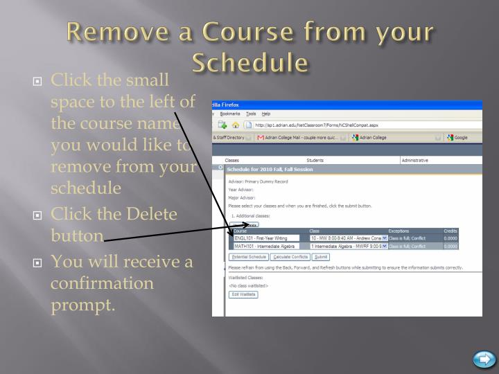 Remove a Course from your Schedule