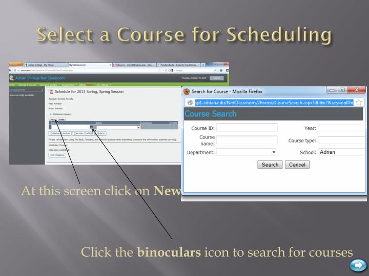 Select a Course for Scheduling