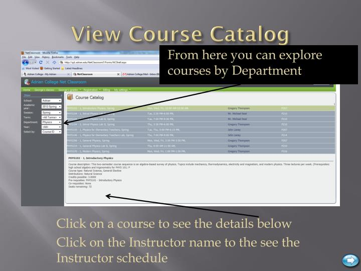 View Course Catalog