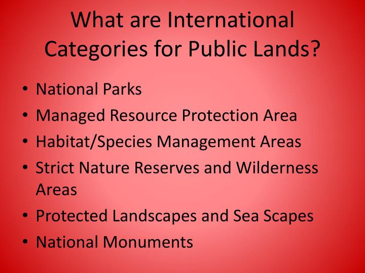 What are International Categories for Public Lands?