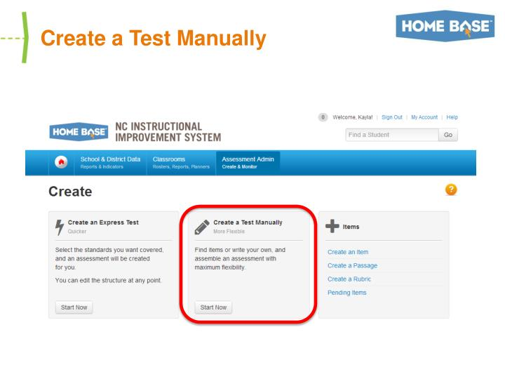 Create a Test Manually
