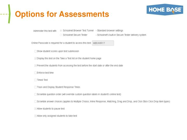 Options for Assessments