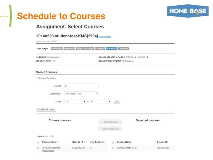 Schedule to Courses