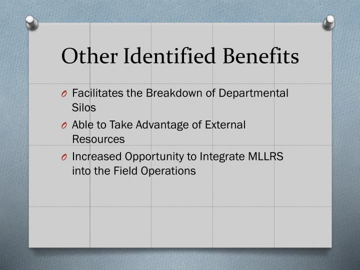 Other Identified Benefits