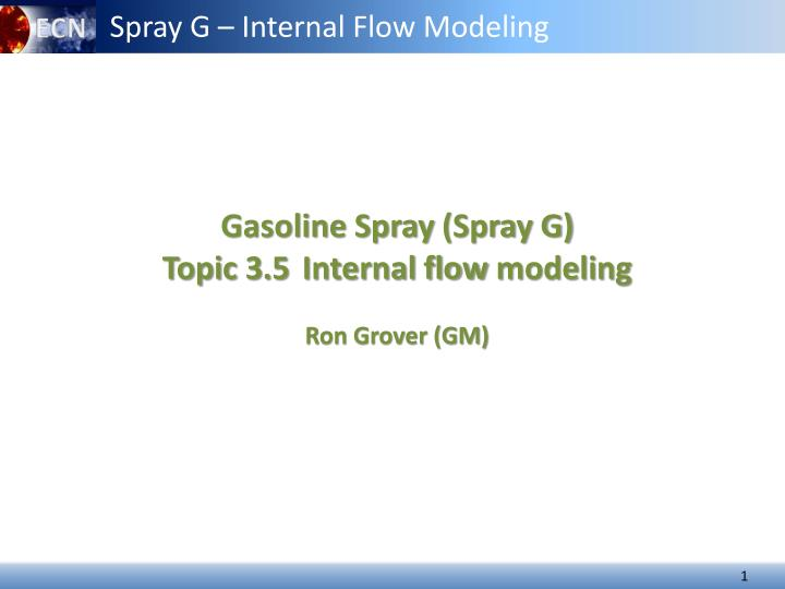 Spray G – Internal Flow Modeling