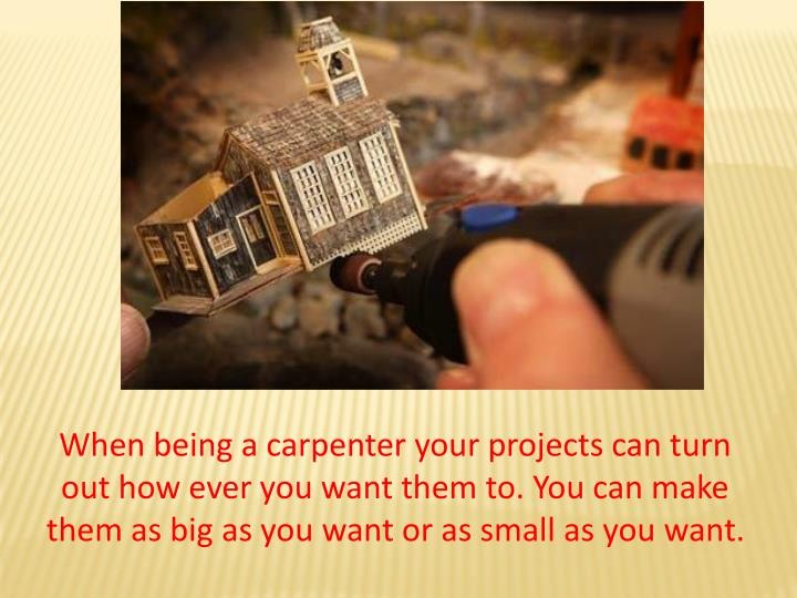 When being a carpenter your projects can turn out how ever you want them to. You can make them as bi...