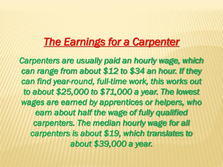 The Earnings for a Carpenter