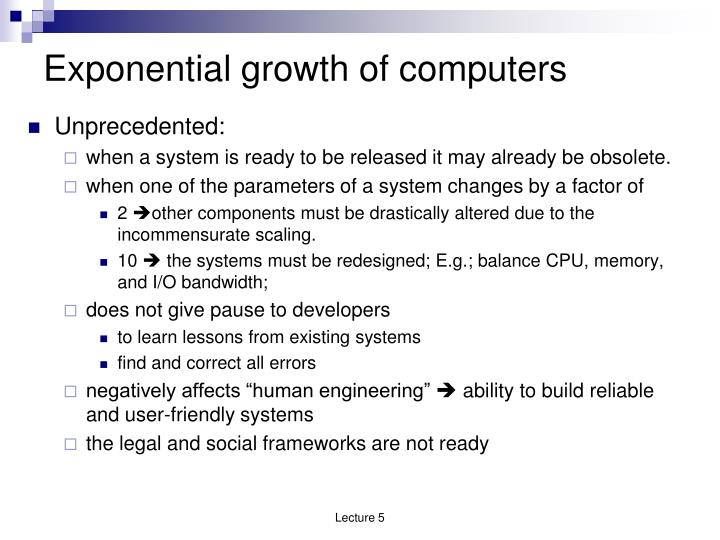 Exponential growth of computers