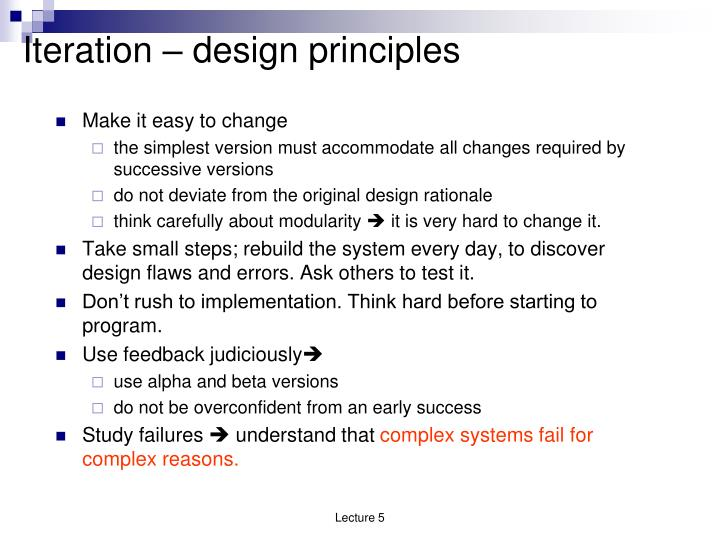Iteration – design principles