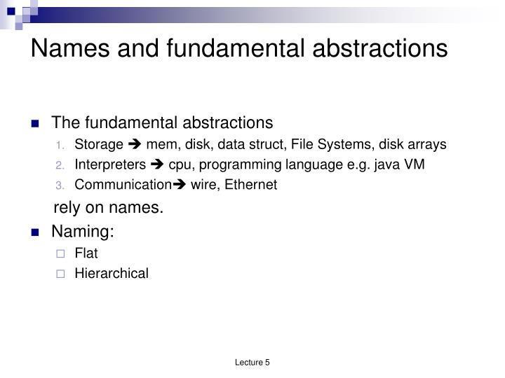 Names and fundamental abstractions