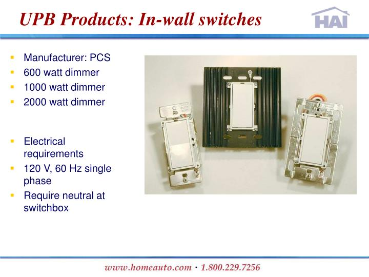UPB Products: In-wall switches