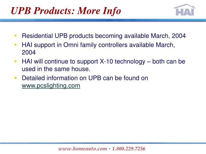 UPB Products: More Info