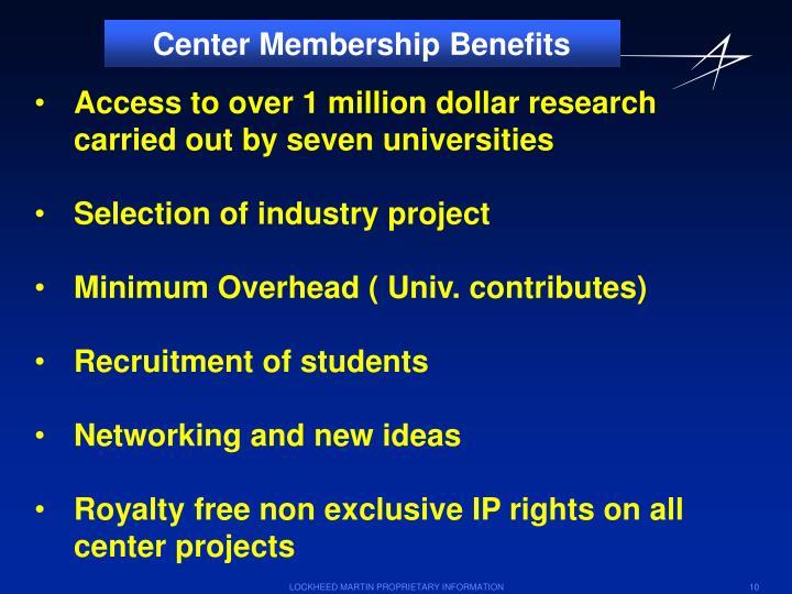 Center Membership Benefits