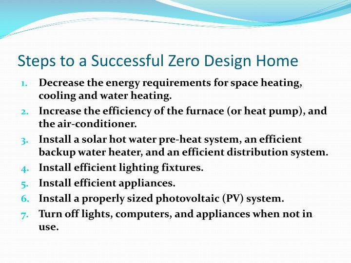 Steps to a Successful Zero Design Home