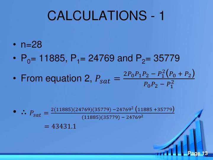 CALCULATIONS - 1