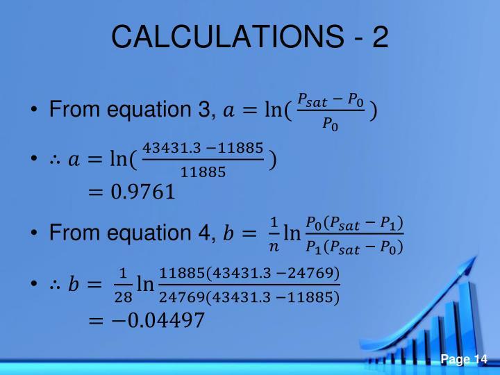 CALCULATIONS -