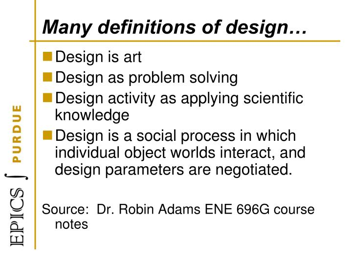 Many definitions of design…