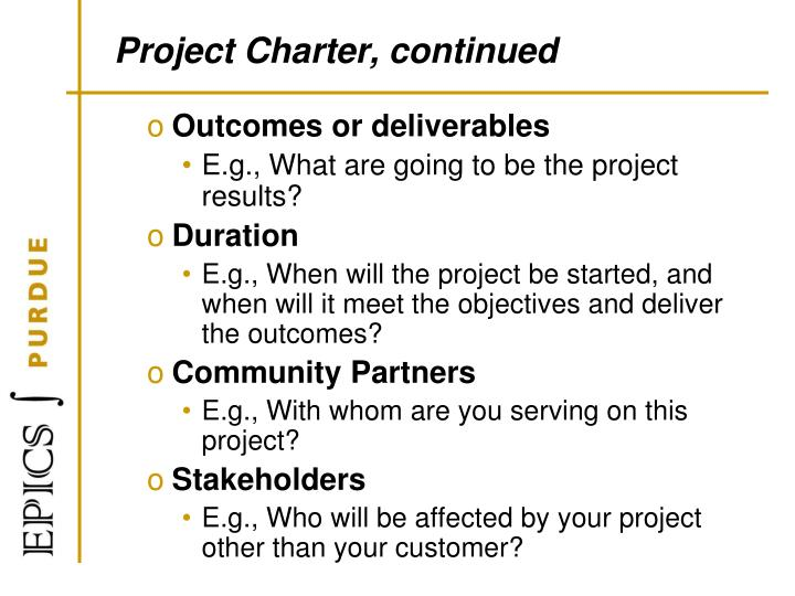 Project Charter, continued