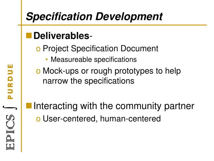 Specification Development