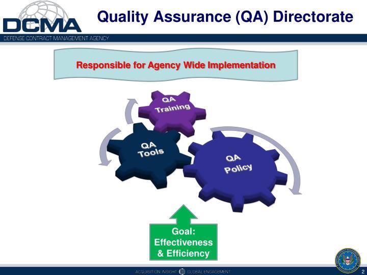 Quality Assurance (QA) Directorate