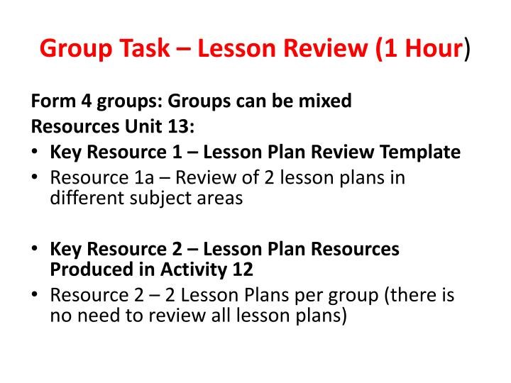 Group Task – Lesson Review (1 Hour